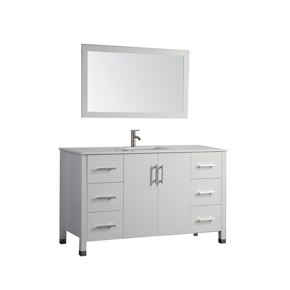 Monaco 48 in. W x 22 in. D x 36 in. H Vanity in White with Microstone Vanity Top in White with White Basin and Mirror