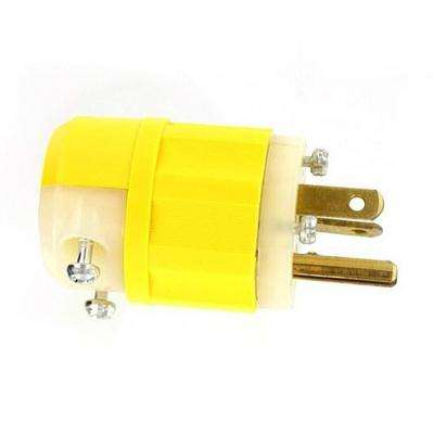 20 Amp 125-Volt Straight Blade Grounding Plug, Yellow/White