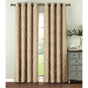 Window Elements Semi-Opaque Geo Gate Embroidered Faux Linen Extra Wide 96 inch L Grommet Curtain Panel Pair, Ivory (Set... by Window Elements