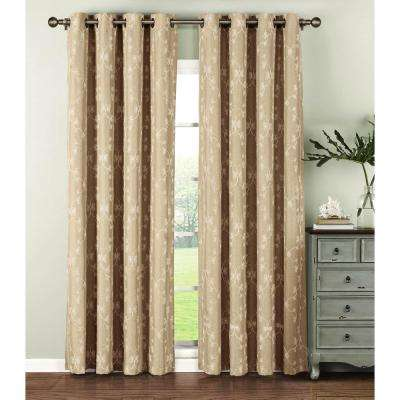 Semi-Opaque Geo Gate Embroidered Faux Linen Extra Wide 96 in. L Grommet Curtain Panel Pair, Ivory (Set of 2)