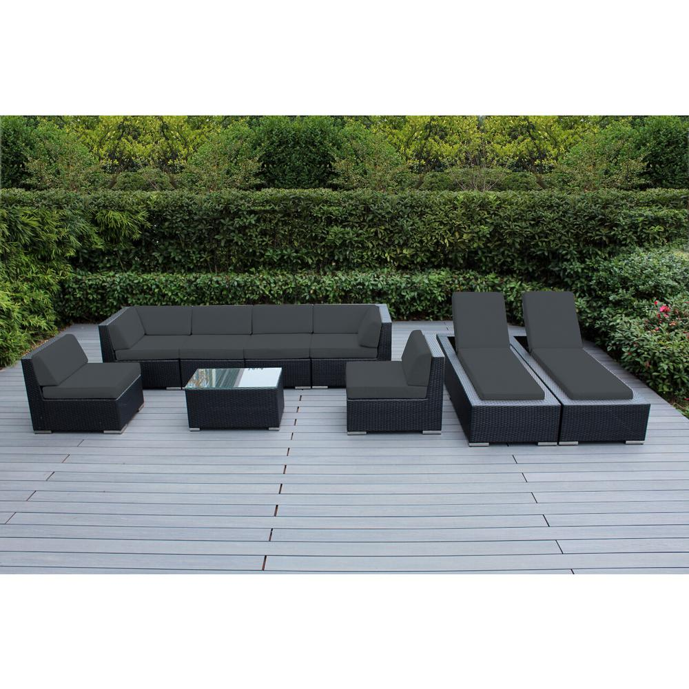 Ohana Depot Black 9-Piece Wicker Patio Combo Conversation Set with Spuncrylic Gray Cushions