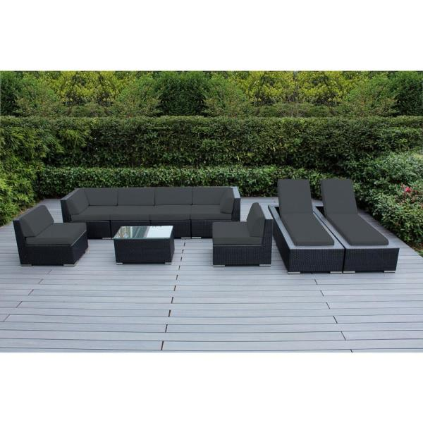 Black 9-Piece Wicker Patio Combo Conversation Set with Supercrylic Gray Cushions