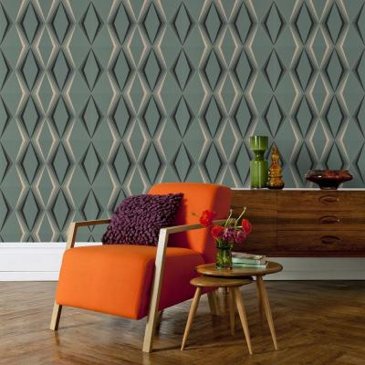 Deco Diamond Green Wallpaper