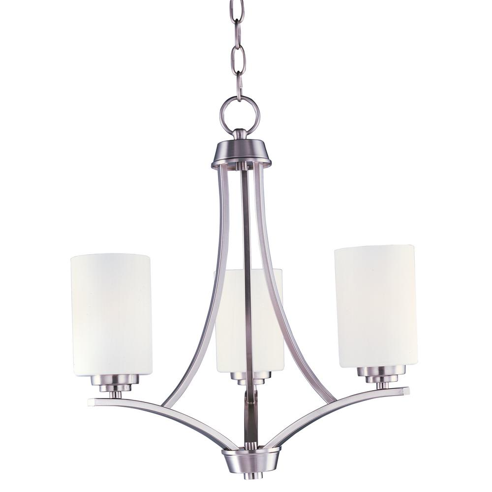 Deven 3-Light Satin Nickel Chandelier with Satin White Shade