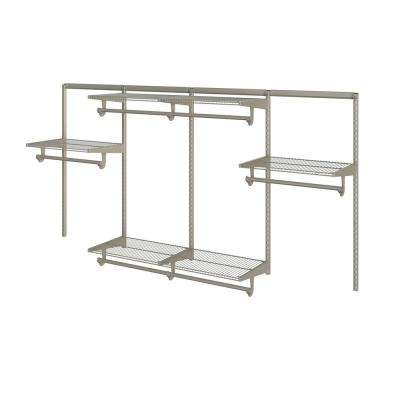 Closet Culture 16 in. x 96 in. W x 48 in. H Wire Closet System with 6 Champagne Nickel Shelves