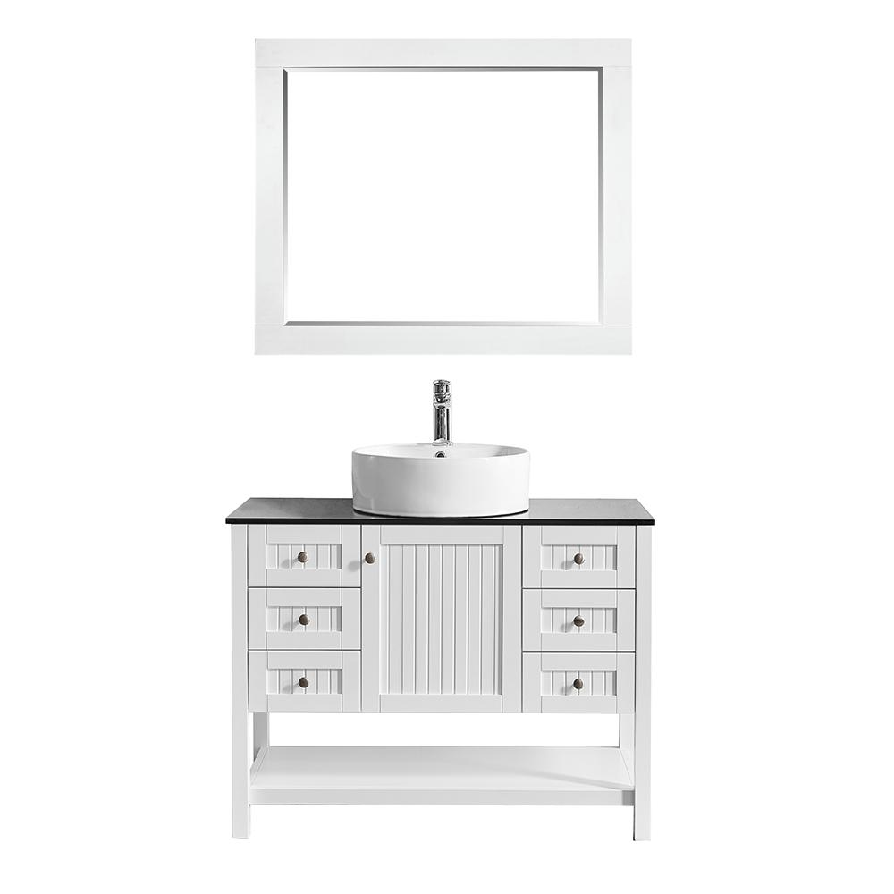 ROSWELL Modena 42 in. W x 20 in. D Vanity in White with Glass Vanity Top in Black with White Basin and Mirror