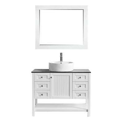 Modena 42 in. W x 20 in. D Vanity in White with Glass Vanity Top in Black with White Basin and Mirror
