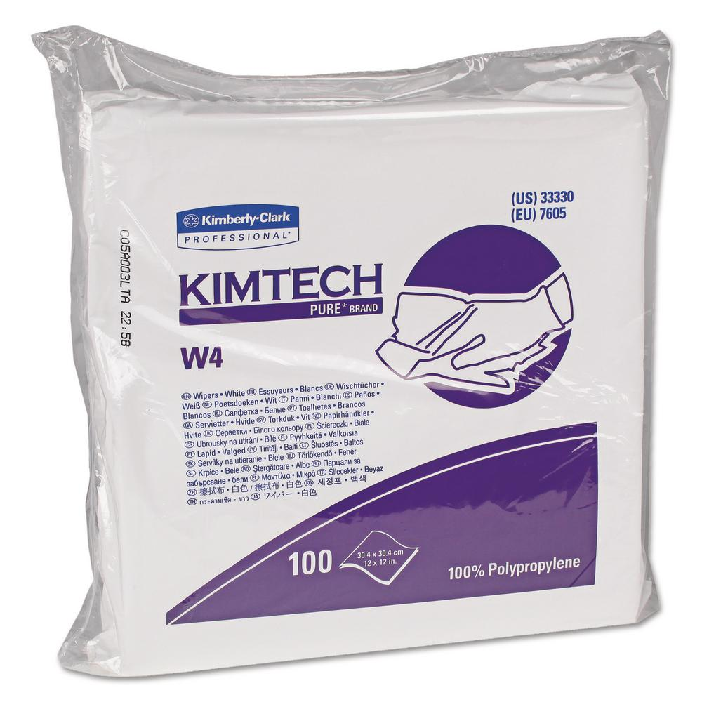 12 x 12 W4 Critical Task Wipers, Flat Double Bag, White,