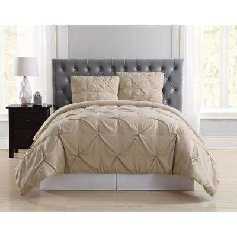 Everyday Pleated Khaki Full/Queen Comforter Set