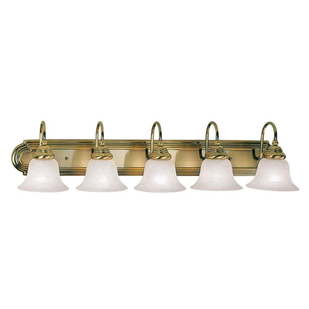 5-Light Antique Brass Bath Light with White Alabaster Glass Shade