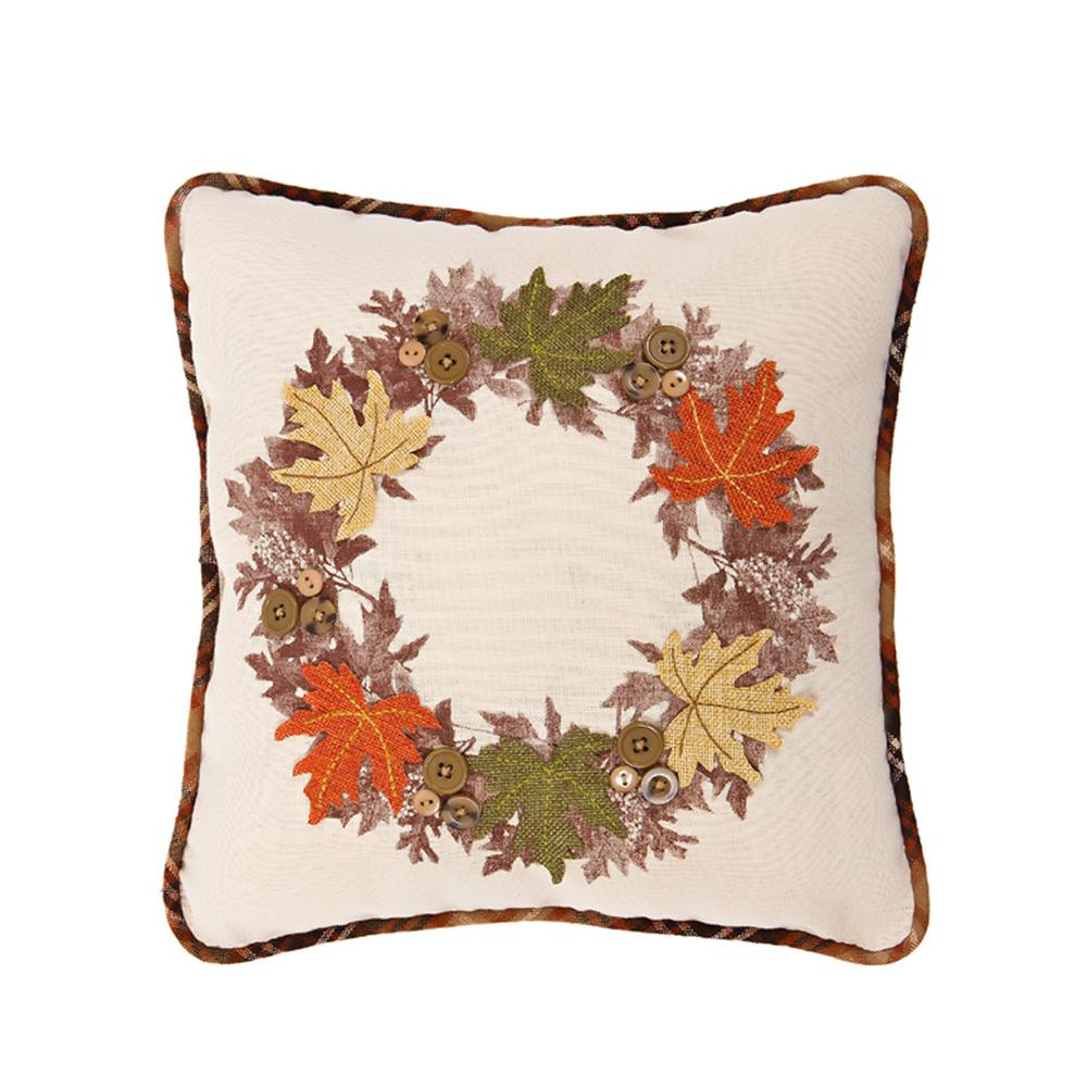 Xia Home Fashions 5 in. x 14 in. x 14 in. Maple Wreath Fall Decorative Pillow