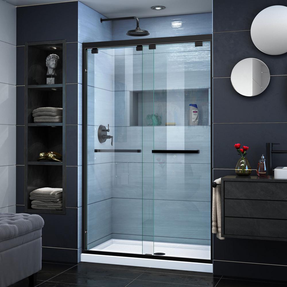 Encore 44 to 48 in. x 76 in. Semi-Frameless Sliding Shower Door in Satin Black