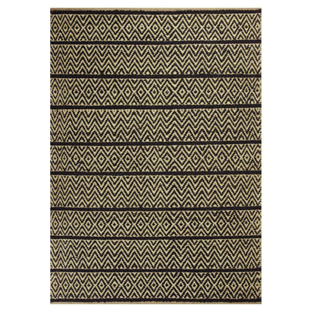 Diamond Stripe Black/Beige 5 ft. x 8 ft. Area Rug