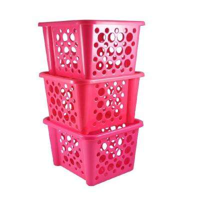 Stackable Basket in Pink (3-Pack)
