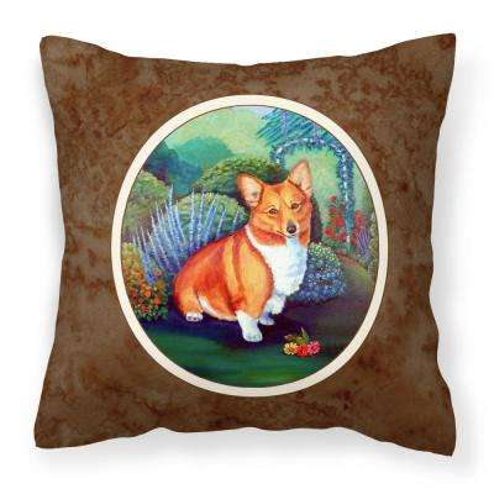 Caroline S Treasures 14 In X 14 In Multi Color Lumbar Outdoor Throw Pillow Corgi 7118pw1414 The Home Depot