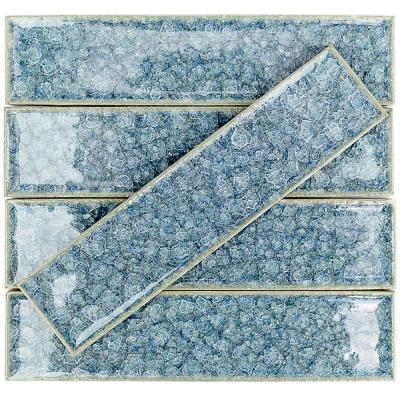 Roman Selection Iced Blue 2 in. x 8 in. x 9 mm Polished Glass Mosaic Wall Tile (36 pieces 4 sq.ft./Box)