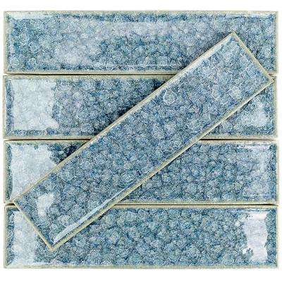 Roman Selection Iced Blue 2 in. x 8 in. x 9 mm Glass Floor and Wall Tile