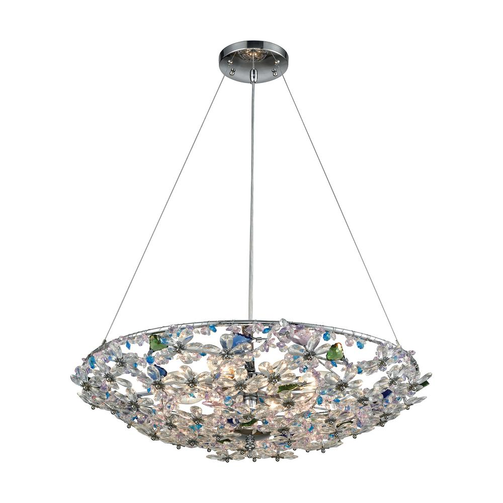 Titan Lighting Crystallus 8 Light Polished Chrome Chandelier With Multi Colored Crystal Shade