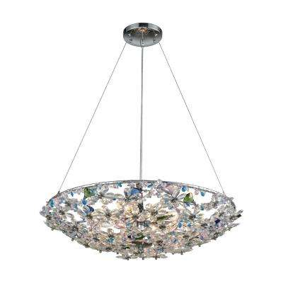 Crystallus 8-Light Polished Chrome Chandelier with Multi-Colored Crystal Shade
