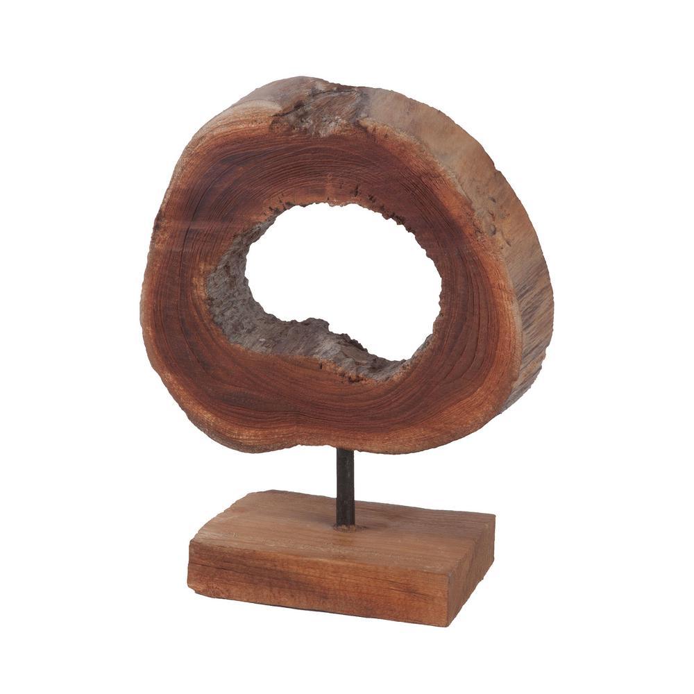 Small Round Slice Natural Teak Sculpture