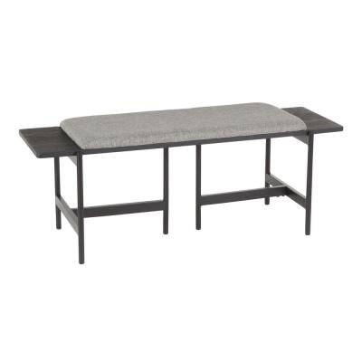 Chloe Contemporary Black Metal and Grey Fabric with  Bench in Wood Accents