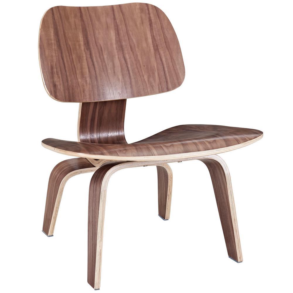 MODWAY Fathom Walnut Wood Lounge Chair EEI-510-WAL