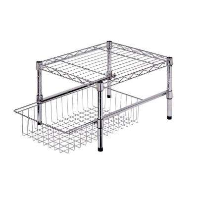 11 in. H x 12 in. W x 18 in. D Sturdy Adjustable Steel Shelf with Basket Cabinet Organizer in Chrome