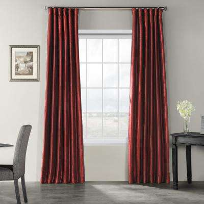 Ruby Red Vintage Textured Faux Dupioni Silk Light Filtering Curtain - 50 in. W x 108 in. L