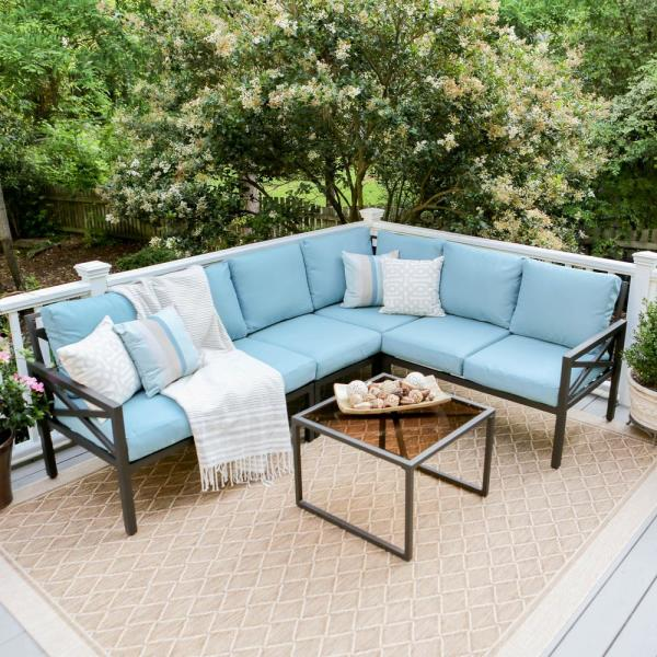 Leisure Made Blakely Black 5 Piece Aluminum Outdoor Sectional With Spa Blue Cushions 502987 Blu The Home Depot