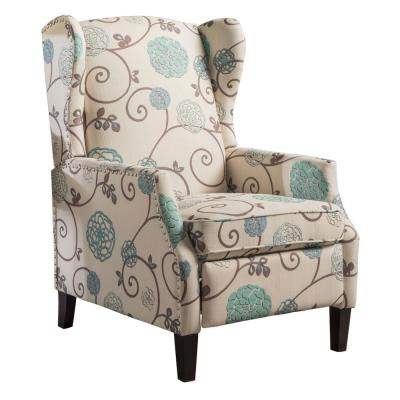 White and Blue Floral Fabric Studded Frame Recliner