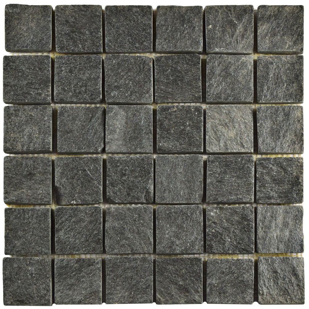 Merola Tile Crag Quad Black Quartzite 12 in x 12 in x 13 mm