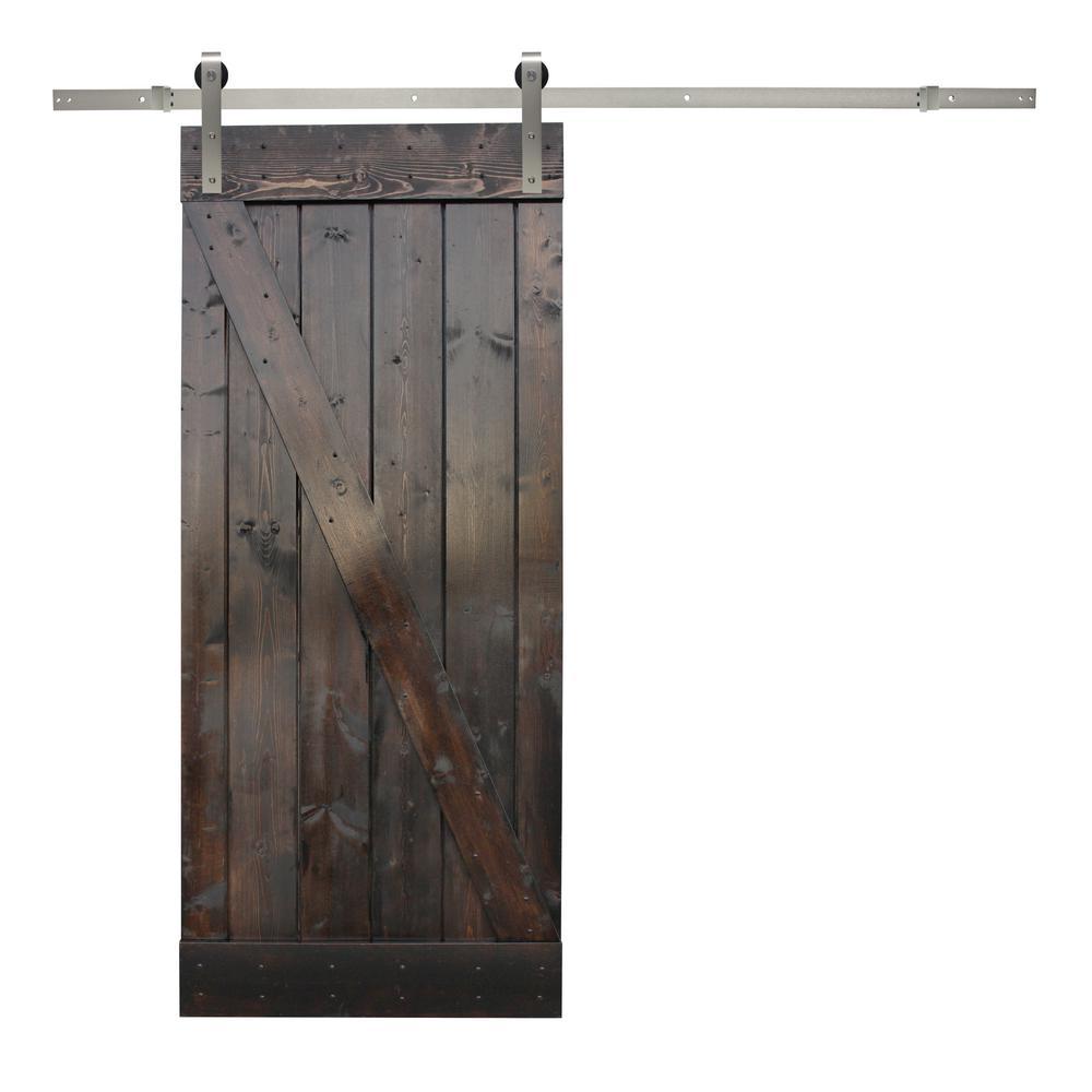 36 in. x 84 in. Dark Chocolate Stain Wood Barn Door with Stainless Steel Sliding Door Hardware Kit