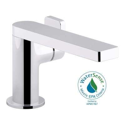 Composed Single Hole Single-Handle Bathroom Faucet with Lever Handle and Drain in Polished Chrome