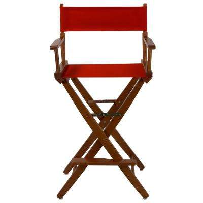 30 in. Extra-Wide Mission Oak Wood Frame/Red Canvas Seat Folding Directors Chair