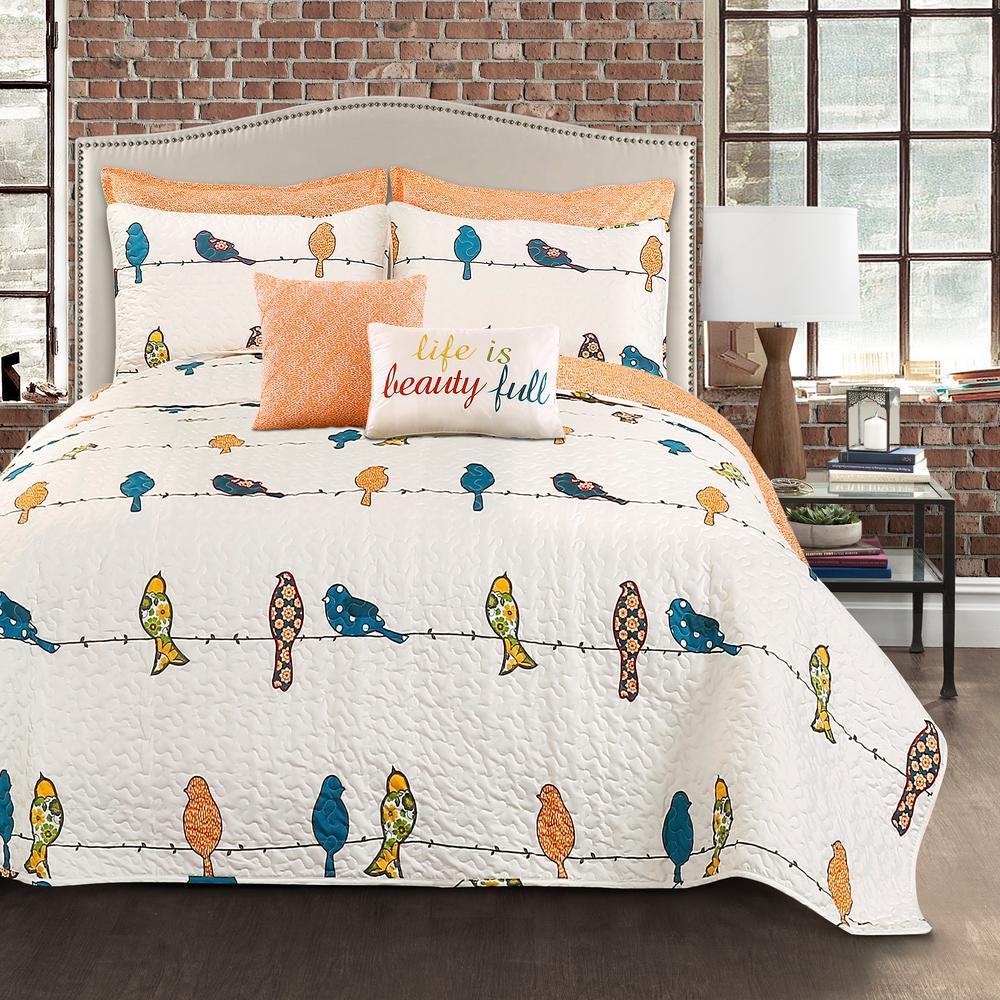 Rowley Birds Quilt Multi 7Pc Set King