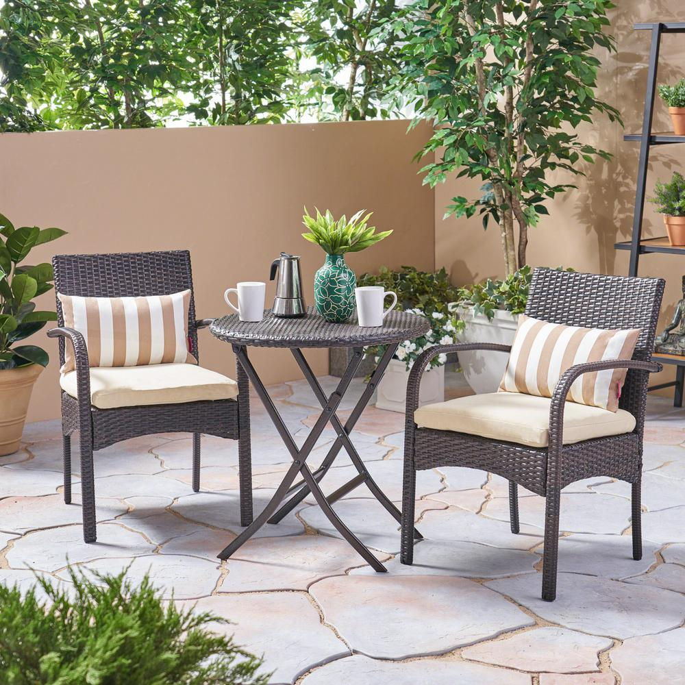 Le House Multi Brown 3 Piece Wicker Outdoor Bistro Set With Cream