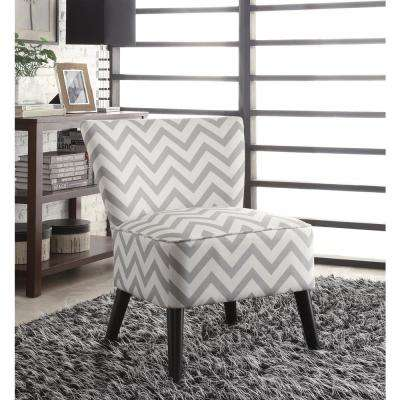 Zig Zag Grey Fabric Apollo Chair with Dark Espresso Finished Legs