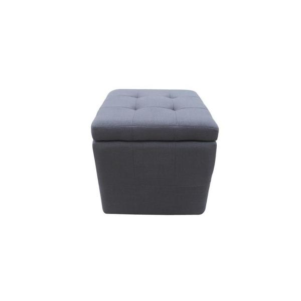 Incredible Tufted Dark Gray Fabric Cube Storage Ottoman Pabps2019 Chair Design Images Pabps2019Com