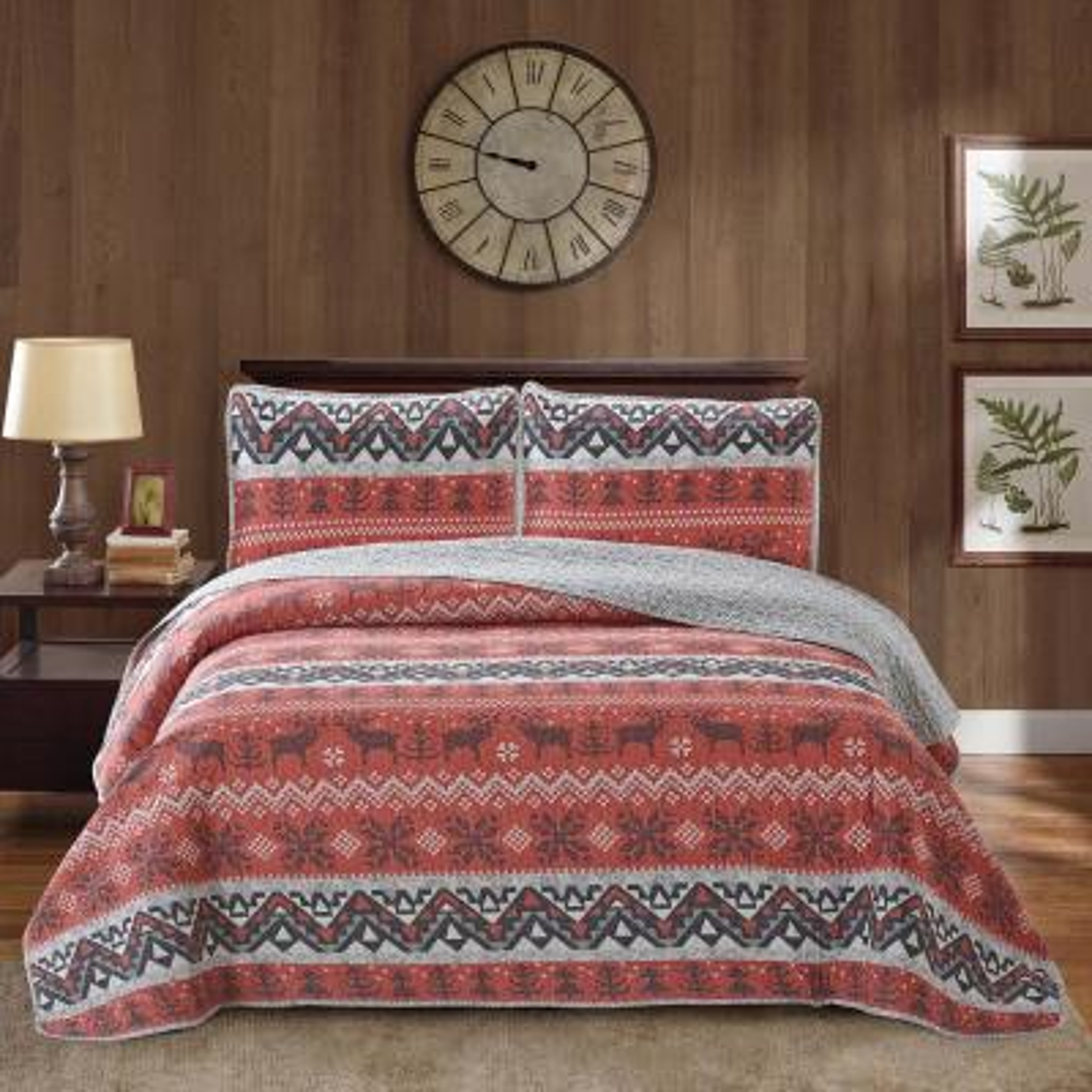 Moose Land Print King 4-Piece Polyester Quilt Set