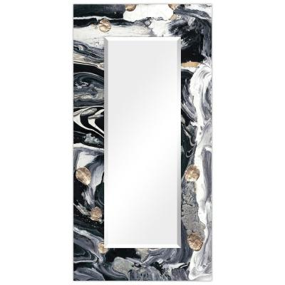 Oversized Rectangle BlackWhite Beveled Glass Contemporary Mirror (72 in. H x 36 in. W)