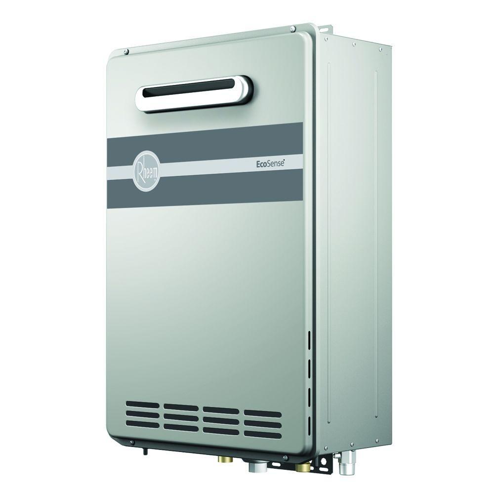 Rheem EcoSense 9.5 GPM Liquid Propane Gas High Efficiency Outdoor Tankless Gas Water Heater
