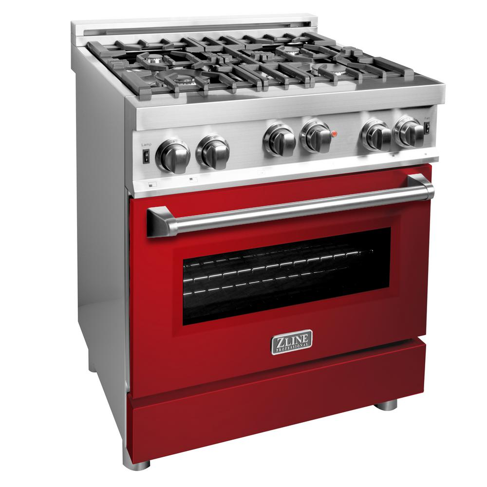 ZLINE Kitchen and Bath ZLINE 30 in. Professional Gas on Gas Range in Stainless Steel with Red Gloss Door (RG-RG-30)