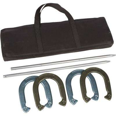 Pro Horseshoe Set - Powder Coated Steel with Carry Case (Gold and Silver)
