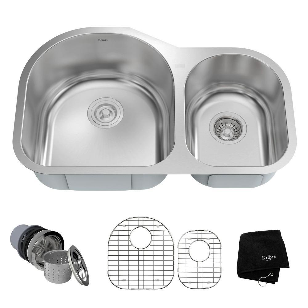 Undermount Stainless Steel 32 in. 60/40 Double Bowl Kitchen Sink Kit