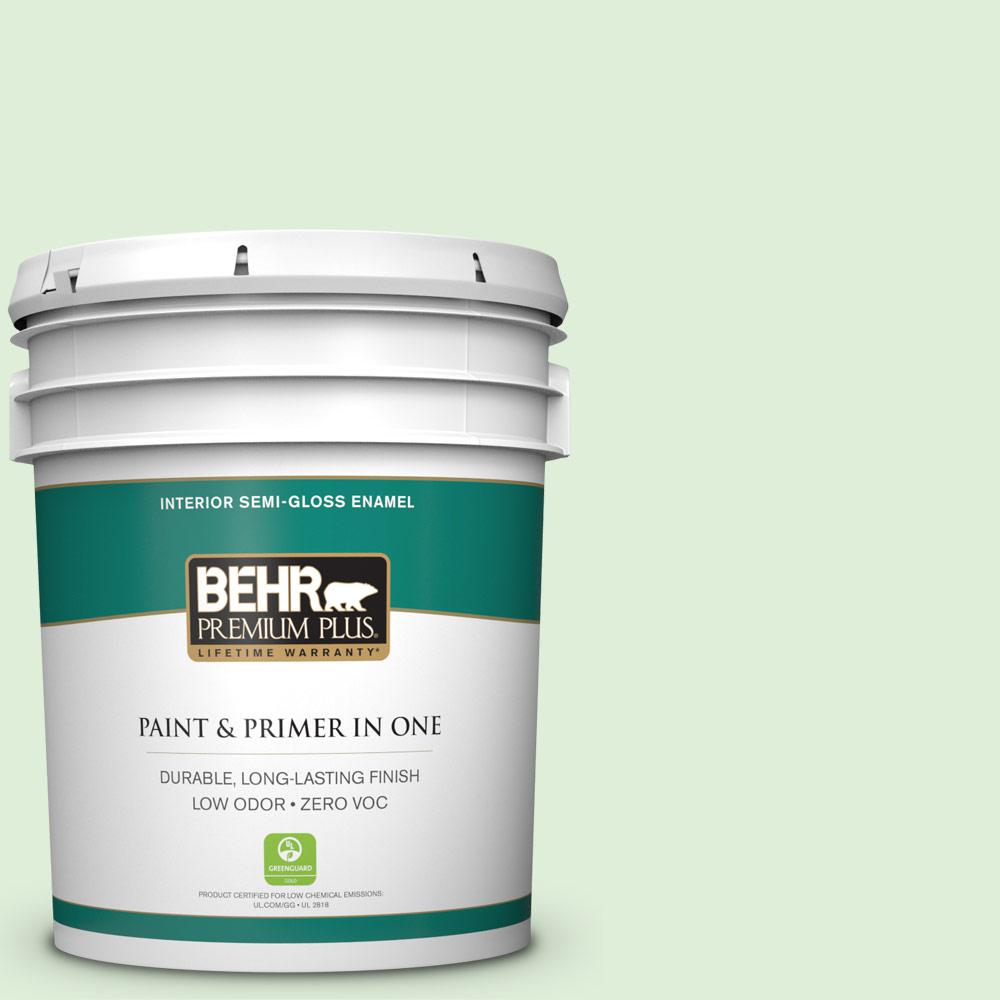 5-gal. #440C-2 Cucumber Crush Zero VOC Semi-Gloss Enamel Interior Paint