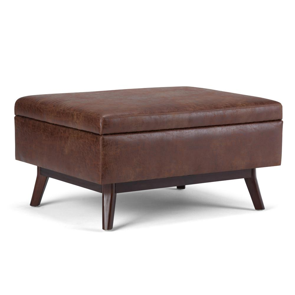 Simpli Home Owen Distressed Saddle Brown Air Leather Storage Ottoman
