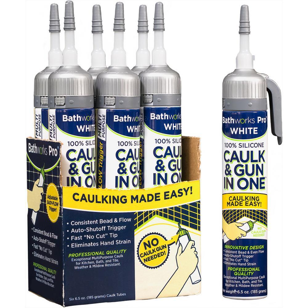 39 oz. Caulk and Gun in One 100% White Silicone Caulk and Gun (6-Pack)
