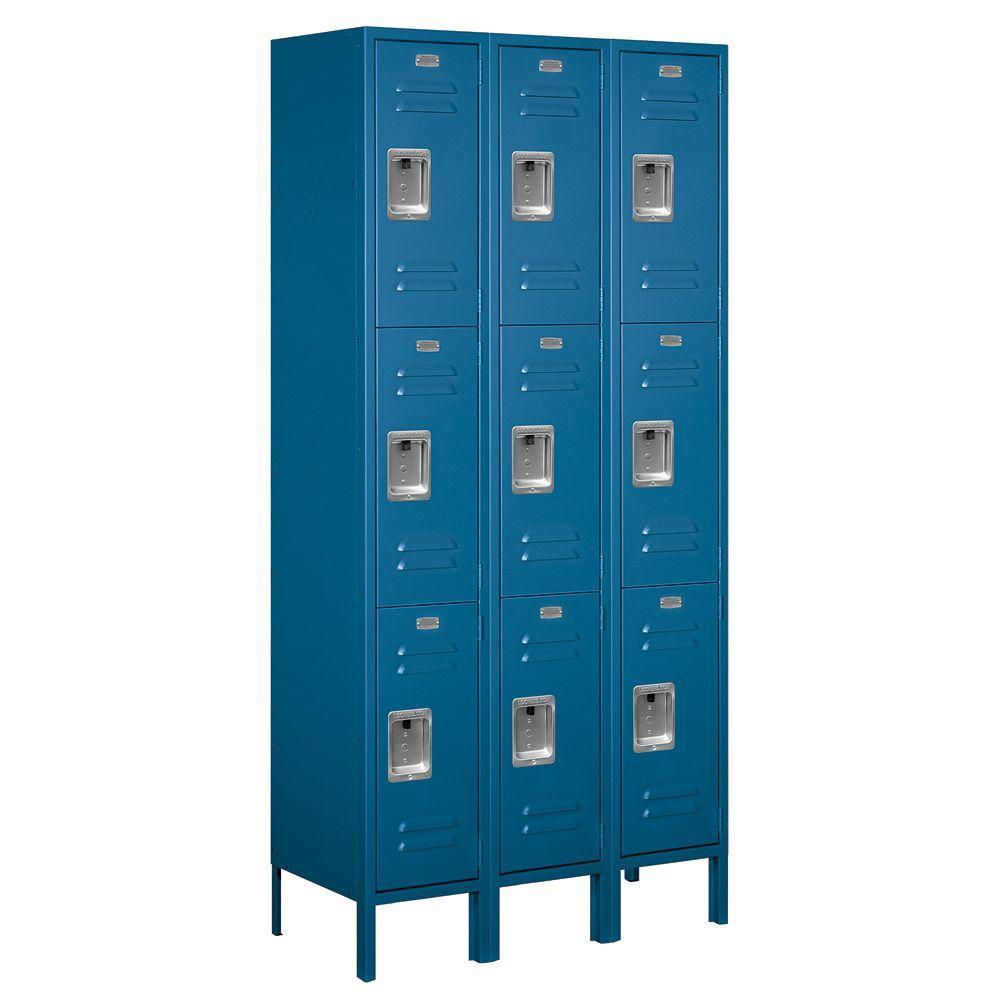 Salsbury Industries 63000 Series 36 in. W x 78 in. H x 15 in. D - Triple Tier Metal Locker Unassembled in Blue