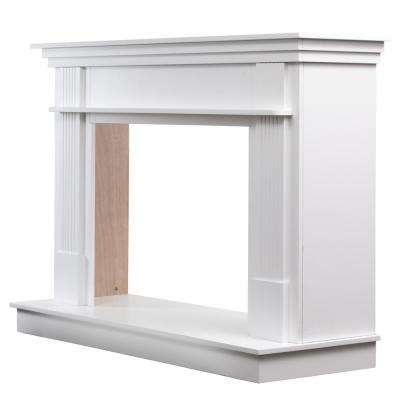 56-1/2 in. x 40 in. Freestanding Wood Mantel in Smooth White