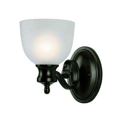 Cabernet Collection 1-Light Oiled Bronze Sconce with White Frosted Shade